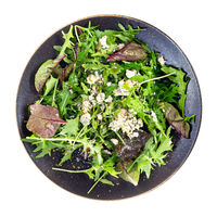top view of green salad with blue cheese isolated