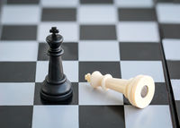 Chess pieces placed on a game board