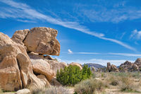 View of giant rock formations on a hiking trail at Joshua Tree National Park.
