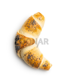 Salted croissant bun roll with poppy seeds. Homemade pastry