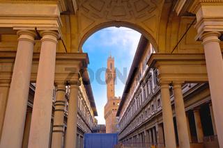 The Uffizi Gallery and Palazzo Vechio on Piazza della Signoria square  in the Historic Centre of Florence