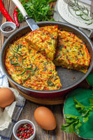 Vegetable Kugel. Dish of Jewish cuisine.