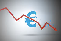 Concept of economic crisis and euro inflation