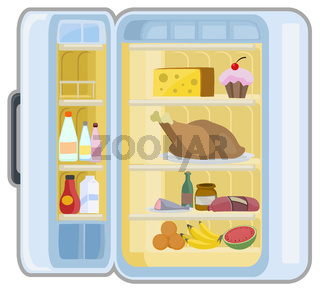 Food Refrigerator Cartoon
