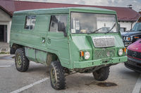 Odd vehicle, most likely customised military Volvo 4x4 van from 70s