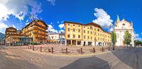 Cortina d' Ampezzo main square architecture and church panoramic view