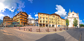Cortina d' Ampezzo main square architecture and church panoramic view