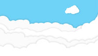 blue sky with clouds background with copy space, paper cut style