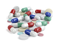 Pile of medicaments on white background
