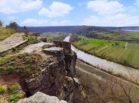 Rocks of the Hessigheimer Felsengaerten with river Neckar in background near town of Mundelsheim