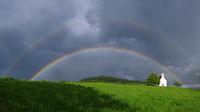 Rainbow and chapel