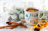 Mug of hot chocolate with cinnamon and orange zest.
