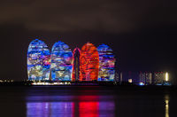 Night view of buildings on Phoenix island in Sanya, Hainan