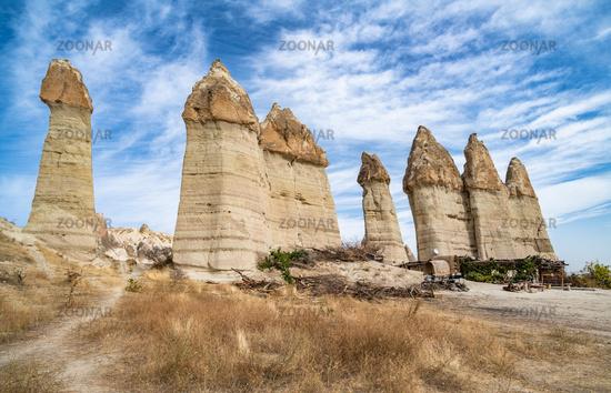 Rock formations in Love Valley, Cappadocia, Turkey.