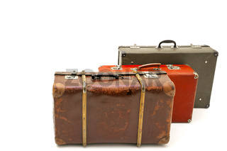 Vintage suitcase over white background. Isolated