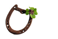horseshoe, four-leaf clover