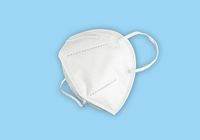 FFP2 face mask, respirator isolated on blue background