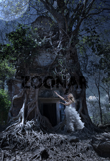 The woman in a wedding dress worships to the Moon at an entrance to the thrown temple