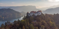 Aerial panoramic view of Lake Bled and the castle of Bled, Slovenia, Europe. Aerial drone photography.