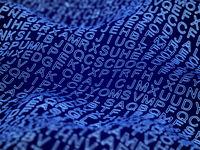 Random 3D digital letters of English alphabet on digital wave surface.