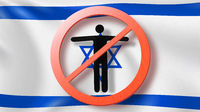 Warning sign with crossed out man on a background Israeli flag.