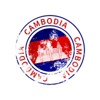 Cambodia sign, vintage grunge imprint with flag on white