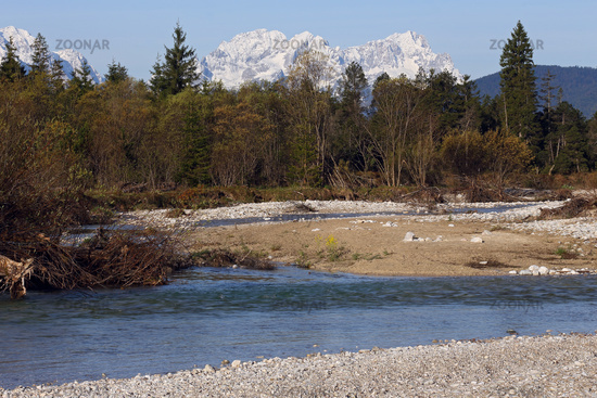 River Isar with Wetterstein, Bavarian Alps