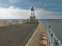 Lighthouse at the North Sea Coast near city Wilhelmshaven, Lower Saxony, Germany