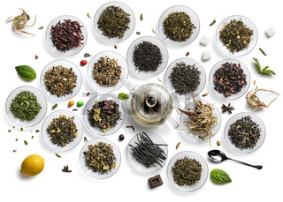 Large assortment of tea on a white background. The view from the top