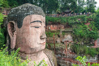 Crowds admiring The Giant Leshan Buddha