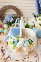 Top view white arrayed basket. Easter concept