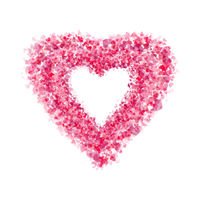 Heart made of pink petals on white background.