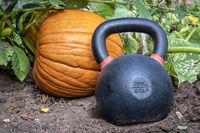 heavy kettlebell and pumpkin