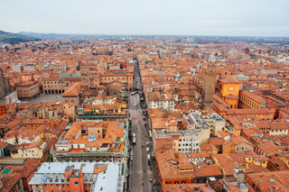 View across Bologna in Italy