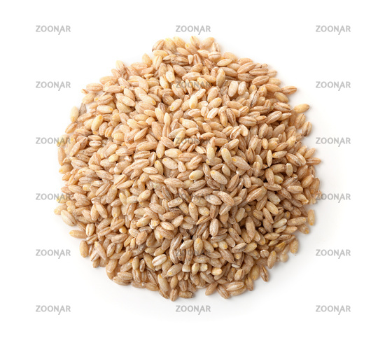 Top view of dried pearl barley heap