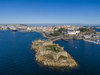 Aerial view of A Coruna and Castle of San Anton in Galicia