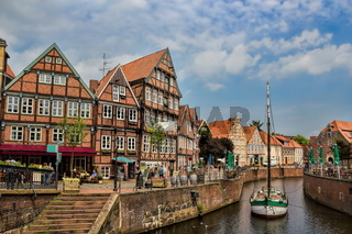 harbor in the old town of stade, germany
