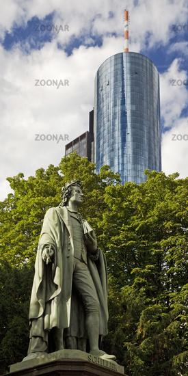 Schiller monument, behind it the skyscraper Main Tower, Frankfurt am Main, Germany, Europe