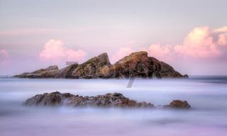 Statis Rock  off Sugarloaf Bay Seal Rocks NSW Australia at sunset