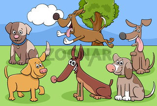 cartoon dogs characters group in park