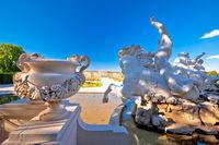 Vienna. Schonbrunn Palace garden and fountain statues view