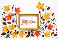 Colorful Autumn Leaf Decoration, Golden Frame, Text Gutschein Means Voucher