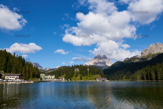 Tre Cime di Lavaredo mountains at Lago di Misurina lake