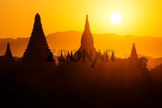 Silhouettes of Burmese Pagodas during sunset, Bagan, Myanmar