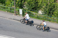 Aerial view two cyclists in Luxembourg city