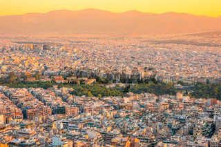Yellow Sunset Over the Rooftops of a Greek Athens