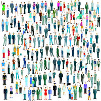 Large crowd on white background. Vector illustration