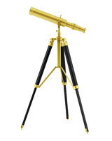 golden telescope on tripod isolated on white