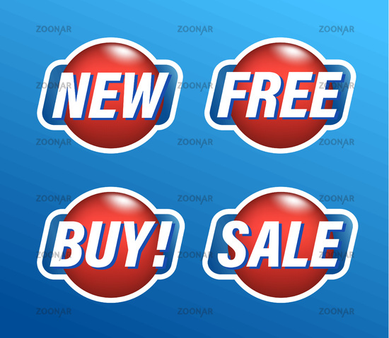 Set of shopping stickers, round red tags with text new, free, buy, sale, vector illustration.