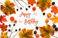Bright Colorful Autumn Leaf Decoration, English Text Happy Birthday